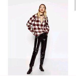 NWT Zara PLAID Choker Top